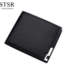 STSR Leather men wallet coin purse buckle small wallet men wallet card bag money bag black one size