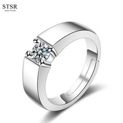 STSR Men's Fashion Crystal Zirconia Wedding Ring Women's Fashion Adjustable Couple Ring Jewelry silver(male) one size