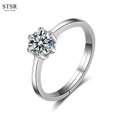 STSR Men's Fashion Crystal Zirconia Wedding Ring Women's Fashion Adjustable Couple Ring Jewelry silver(Female) one size