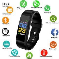 STSR Smart Sports Bluetooth Bracelet Heart Rate Monitor Fitness Tracker Smart Bracelet 115plus black one size
