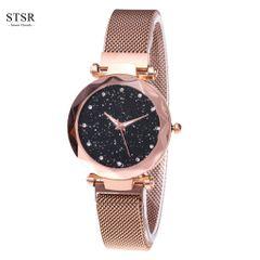 STSR Ladies Watch Romance Star Watch Ladies Magnet Watch Rhinestone Inlaid Bracelet Watch golden one size