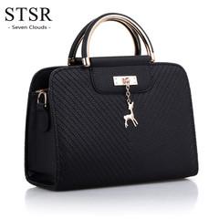 STSR Fashion handbag 2019 new ladies leather bag large capacity shoulder bag casual handbag black one size
