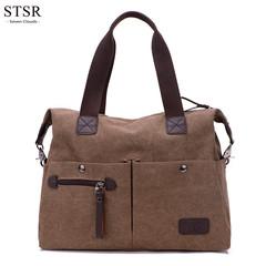 STSR Women's bag ladies shoulder bag Messenger bag canvas zipper bag travel bag hot sale brown one size