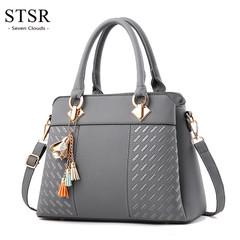 STSR Leather Clutch Bag Female Handbag Luxury Beach Tote Ms. Fringe Shoulder Bag Tote gray one size