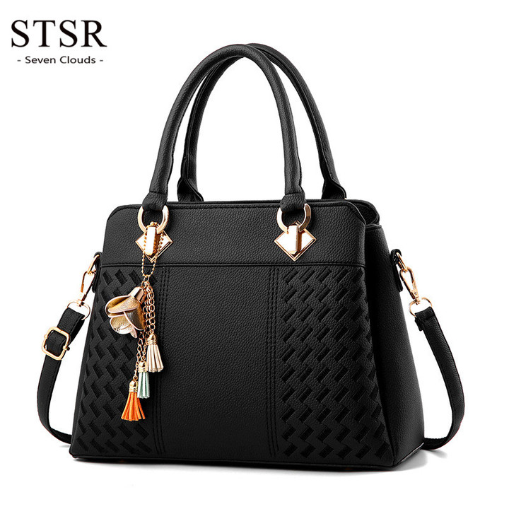 STSR Leather Clutch Bag Female Handbag Luxury Beach Tote Ms. Fringe Shoulder Bag Tote black one size