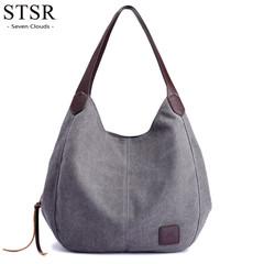 STSR 2019 luxury handbags handbag designer Kvky Hot ladies canvas large capacity handbag gray one size