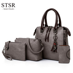STSR Women's bag luxury leather wallet and handbag shoulder bag 4 piece set ladies suit gray one size