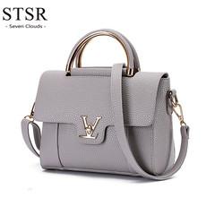 STSR 2019 hot sale handbags ladies luxury Pu leather clutch bag ladies handbag Messenger bag gray one size