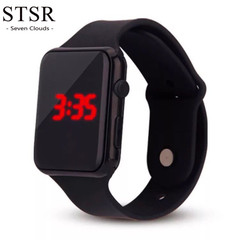 STSR Ladies Casual Watch LED Digital Sports Watch Silicone Watch Christmas Gift Men 2019 black one size