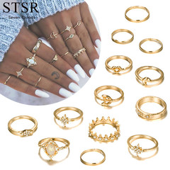 Wedding Feminine Jewelry Crystal Knuckle Ring Set 13PCS / Set Gift Bohemian Star gold one size