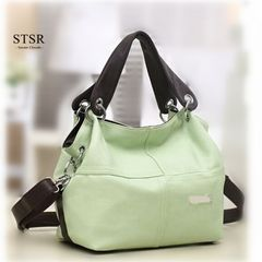 STSR 2020 Casual PU Leather Women's Bags Women Shoulder Bags Buckle Personality Fashion Tote Bags green one size