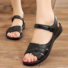 STSR 2020 sandals ladies summer women's shoes soft sole low heel mother shoes sandals slippers black 39