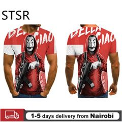 2020 Hot Sale Men's Clothes 3D Printed T-shirt Men's Wild Face Male Polos Short Sleeve Top Clothes RED m cloth