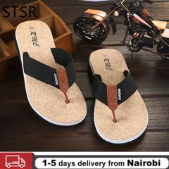 New Fashion Men Flip Flops High Quality Beach Holiday Sandals Non-slide Male Slippers Casual Shoes Black 44