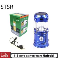 Portable Camping Light Rechargeable Lantern Outdoor Solar Power Collapsible Flashlight Emergency Blue one size