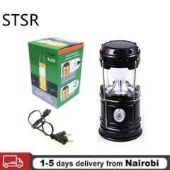 Portable Camping Light Rechargeable Lantern Outdoor Solar Power Collapsible Flashlight Emergency Black one size