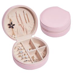 2021 Velvet Multifunctional Jewelry Storage Box PU Leather Ring Earring Necklace Display Jewelry Box Pink