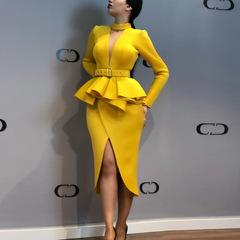 Women's 2019 new long-sleeved space layer mesh V-neck open dress long-sleeved irregular skirt m yellow