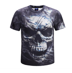 Death Skull Camouflage 3D Printed T-shirt Short Sleeve Men's Wear in Summer of 2019 black xxxl cotton