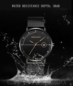 Click Coupon JustMercier Mens Watches Fashion Designer Luxury Business Classic Dress Wrist Watch Blacj+Rose Gold one size