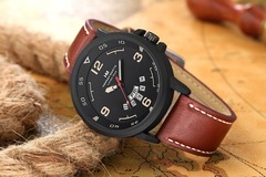 Click Coupon Men Watches  Arabic Numerals Calendar Dial Black Leather Strap Fashion Wrist Watches Brown one size
