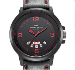 Click Coupon Men Watches  Arabic Numerals Calendar Dial Black Leather Strap Fashion Wrist Watches black+red one size