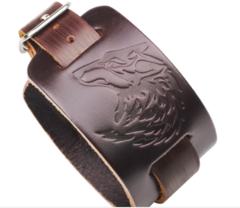 SALE! Mens Leather Cuff Bracelet – Wolf Head Bracelet with Wide Belt, Gift Ideas for Boyfriend Brown one size