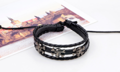 JustMercier stars Braided Leather Bracelet for Men Women Cuff Wrap Bracelet Adjustable skull 1 one size