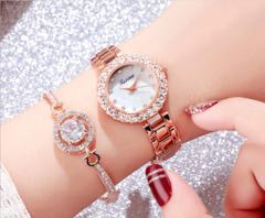 JM 2 pcs Set Fashion Wrist Watch Wristwatch Jewelry High End Shiny Rhinestone Synthetic Diamond rose gold one size
