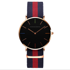 Click Coupon Men's  Classic Wrist Watch with Thin Dial, Multi-Color Striped Nylon Band FBK blue+red one size