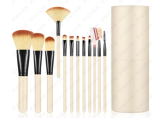Click Coupon Makeup Brush 12 PCS  Powder Brush/Eye Shadow Brush/Eyebrow Brush/Lip Brush pink box creamy-white