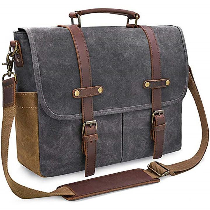 Mens Messenger Bag Waterproof Vintage Genuine Waxed Canvas Briefcase Shoulder Bag Rugged Leather Dark gray one size
