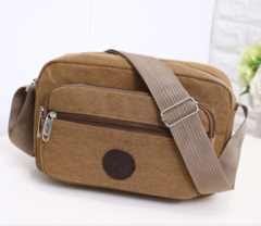 Men's Multifunctional Canvas Messenger Handbag Outdoor Sports Over Shoulder Crossbody Side Bag Brown one size