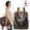 JM Backpack for women Fashion Leather Ladies Rucksack Crossbody Shoulder Bag brown one size