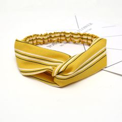 Fashionable cross elastic hair with hairband women's headband hair accessories sports face headwear Yellow stripes one size
