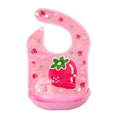 Saliva towel baby bib waterproof dining three-dimensional detachable wash freerice bag imitating Pink strawberry one size