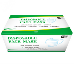 50pcs Face Masks Disposable 3 Layers Dustproof Mask Facial Protective Cover Masks Set Anti-Dust blue