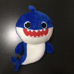 Stuffed toy baby shark toy with music singing toy blue one size
