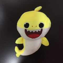 Stuffed toy baby shark toy with music singing toy yellow one size
