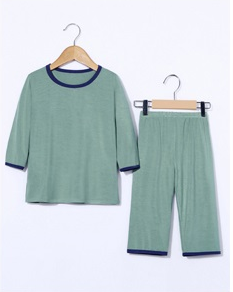 Boy's T-shirt with round collar and short sleeves smoked blue 90