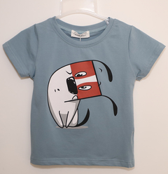 Boy's T-shirt with round collar and short sleeves aqua blue 13 pure cotton