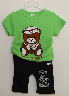 Boy's suit with round collar and short sleeves green M