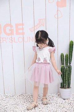 Lace shoulder strap skirt pink 5