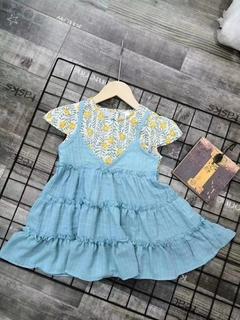 Lace shoulder strap skirt blue 110