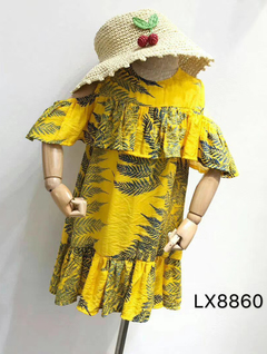Lace shoulder strap skirt yellow 5