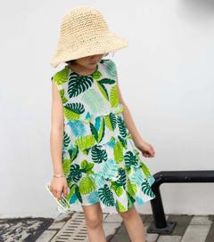 Lace shoulder strap skirt green 5