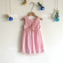 Lace shoulder strap skirt pink 100