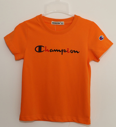 Boy's T-shirt with round collar and short sleeves orange 90 pure cotton