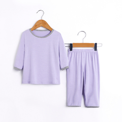Boy's T-shirt with round collar and short sleeves light purple 90