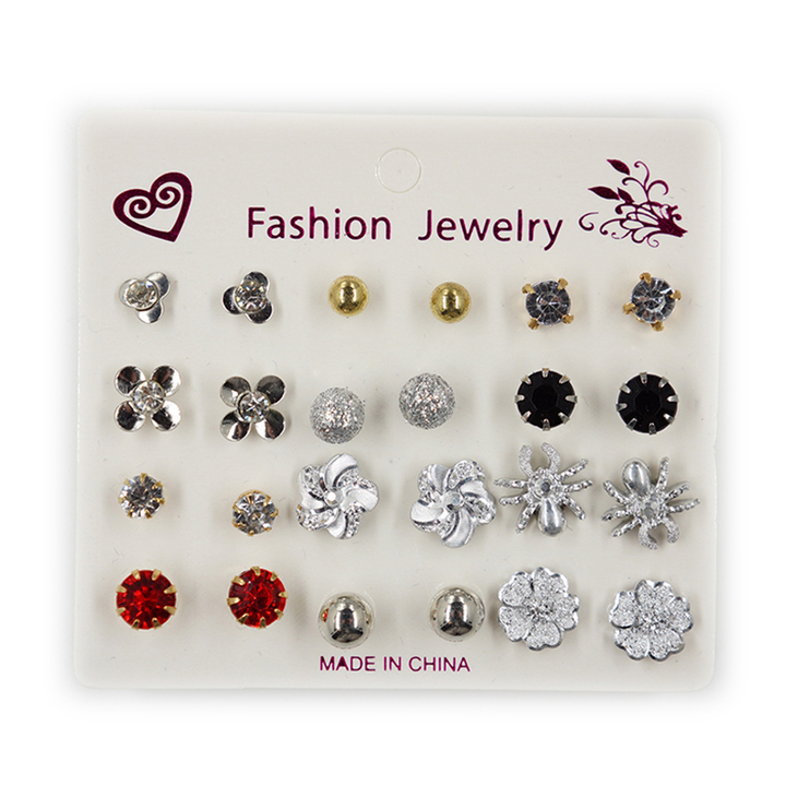 12 Pairs /Set Fashionable Stud Earrings Alloy with Rhinestone Ladies' Jewelry as picture 1 size